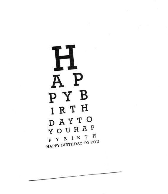 diagramm card happy birthday eye chart eye chart card paper