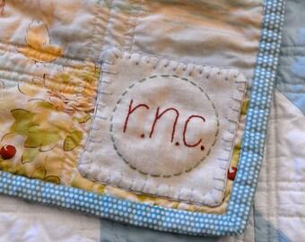 Handmade Custom Monogramed Quilt Label