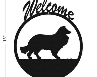 Dog Collie Black Metal Welcome Sign