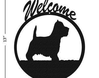 Dog Westie Terrier Black Metal Welcome Sign