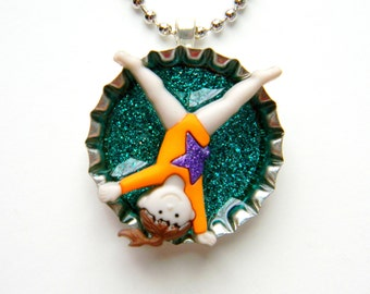 Bottle Cap Necklace - Gymnastics Cartwheet Gymnast 3-D Glitter