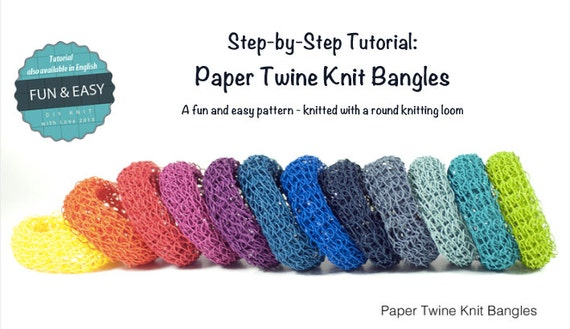 Knitting Patterns Step By Step : Items similar to TUTORIAL Paper Twine Knit Bangles - Pattern / Step by Step I...