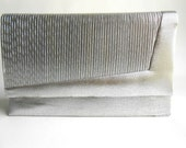 Vintage 1980s Silver Ribbed Clutch by Sasha