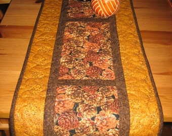 """Pine Cones on Gold Quilted Table Runner, Mountain Lodge Decor, 13 x 70"""", Reversible, 100% cotton fabric"""