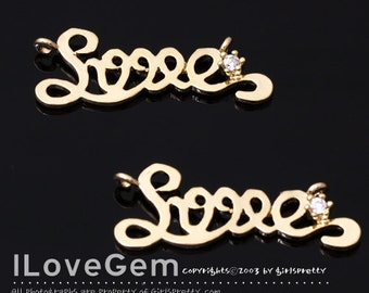 NP-1505 Gold plated, Love, Pendant, 2pcs