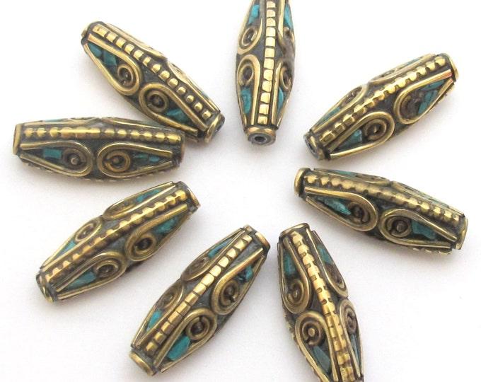 1 bead - Bicone shape Tibetan brass Beads with turquoise inlay  - BD483