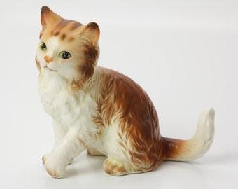 Lefton Figurine Orange Tabby Cat - Ceramic H2942