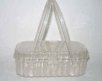 Vintage 1950s Handbag/50s Lucite Purse/50s Rose Lucite Purse/50s Translucent Lucite Handbag Purse With Roses By Theresa Bag Co.