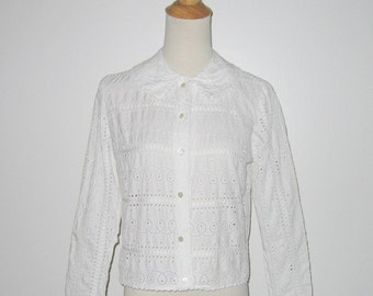 Vintage 1940s 1950s Blouse / 40s 50 White Eyelet Blouse By Aladdin - M