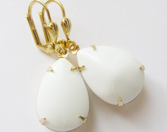 White Opaque Gold Earrings Silver Estate Style Dangle Stone, Opaque Stone