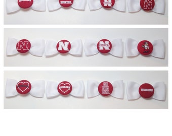 Nebraska Husker Officially Licensed Hair Bow - White with Red Logo - 20 design choices