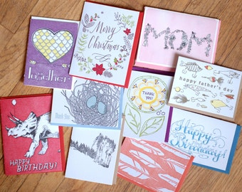 Variety Pack of Letterpress Printed Cards