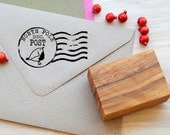 Holiday Inspired - Post Office Franking Stamp with Robin mounted on Olive Wood