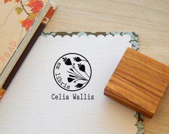Minoan Inspired Budding Flowers Circular Bookplate Stamp on Olive Wood