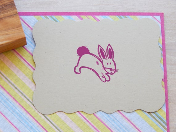 Hopping Bunny Olive Wood Stamp