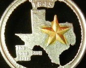 Texas with 14c Gold Accent Hand Cut Coin Jewelry