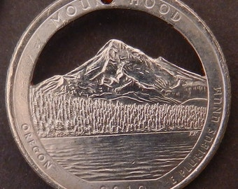 Mount Hood National Forest Quarter Hand Cut Coin Jewelry