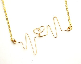 Heart Beat Gold Wire Necklace