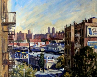 Up Broadway, New York City. Large Oil on Canvas, 20x16 NYC Impressionist Painting, Urban Realist Fine Art, Signed Original Cityscape