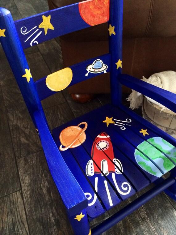 Boys Rocking Chair Rocket Ship Outer Space Child Rocker