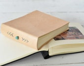 Natural Leather Album - hand embroidered chevron design & turquoise stone - by Claire Magnolia
