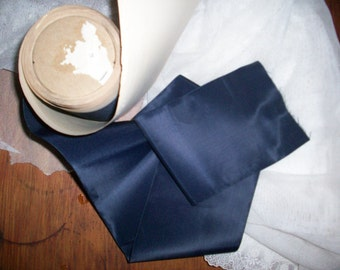 "1 yd. of this vintage Silk Rayon midnight blue taffeta ribbon 4"""
