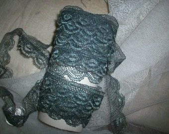 """1 yd. of antique french dark silver lace trim 5/8"""""""