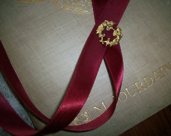 vintage rayon double-faced satin ribbon in cranberry ice