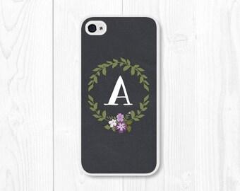 iPhone 6 Plus Case Purple iPhone 6 Case Monogram iPhone 5c Case Floral iPhone 5 Case Custom Personalized Wreath Monogrammed Gifts