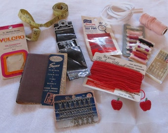 VINTAGE SEWING NOTIONS --dressmaker pins, velcro, hooks & eyes, grosgrain ribbon, elastic, more