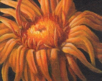 Small Acrylic Painting of a Flower, Original Painting on Canvas, Orange Flower Painting for Home Decor