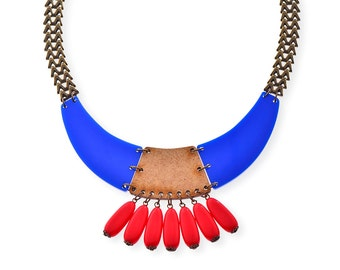 Blue and Wood Bib Neckalce, Plexiglass Statement Necklace, Red Dangle Bead Necklace