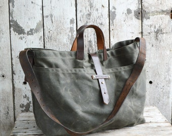 Large Waxed Canvas Tote Bag in Moss, Waxed Canvas Crossbody Bag, Waxed Canvas Diaper Bag, Waxed Canvas Handbag, Waxed Canvas Purse, For Him
