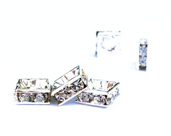 24 pcs 6mm 8mm Silver plated brass Rhinestone square rondelle beads - middle east stone - crystal clear - PICK SIZE