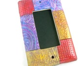Colorful switch plate cover polymer clay metallics and textures