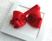 Red Satin Hair Bow Headband, Christmas Baby Headband, Large Red Satin Bow Headband for Newborns, Babies, Toddlers, Girls, Photo Prop