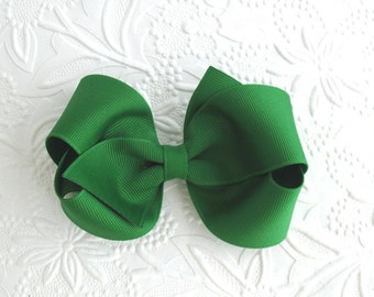 "4"" Emerald Green Hair Bow, Girls, Toddler Hair Clips, Christmas Hair Bows"