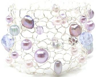 pearl cuff bracelet beaded bracelets delicate bracelet handmade jewelry gift for her amethyst bracelet lavender purple bracelet