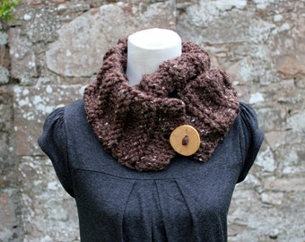 SCARF knitted chunky womens, Rustic brown button scarf, knitwear UK, gift ideas