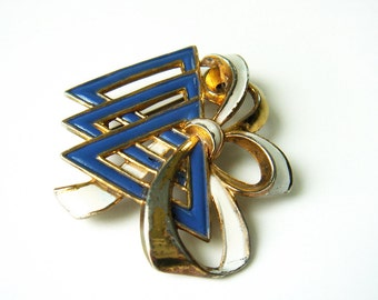 Vintage 1940s Silson Signed YWCA Rare Patriotic Pin Brooch Enameled Blue White Goldtone Triangles Ribbon Bow