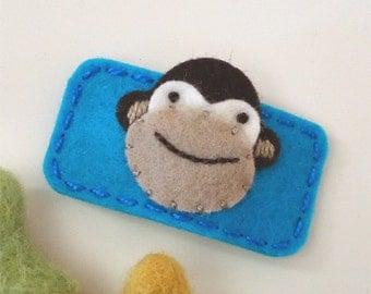 Felt hair clip -No slip -Wool felt -Monkey -turquoise