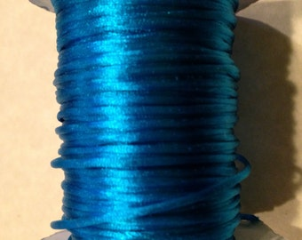 1mm Satin Cord, Mousetail / Rattail / Bugtail, Dark Turquoise 5 yards
