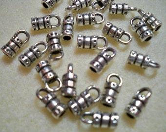 2mm ID Glue In cord ends, 2.5mm loop, silver 24pk
