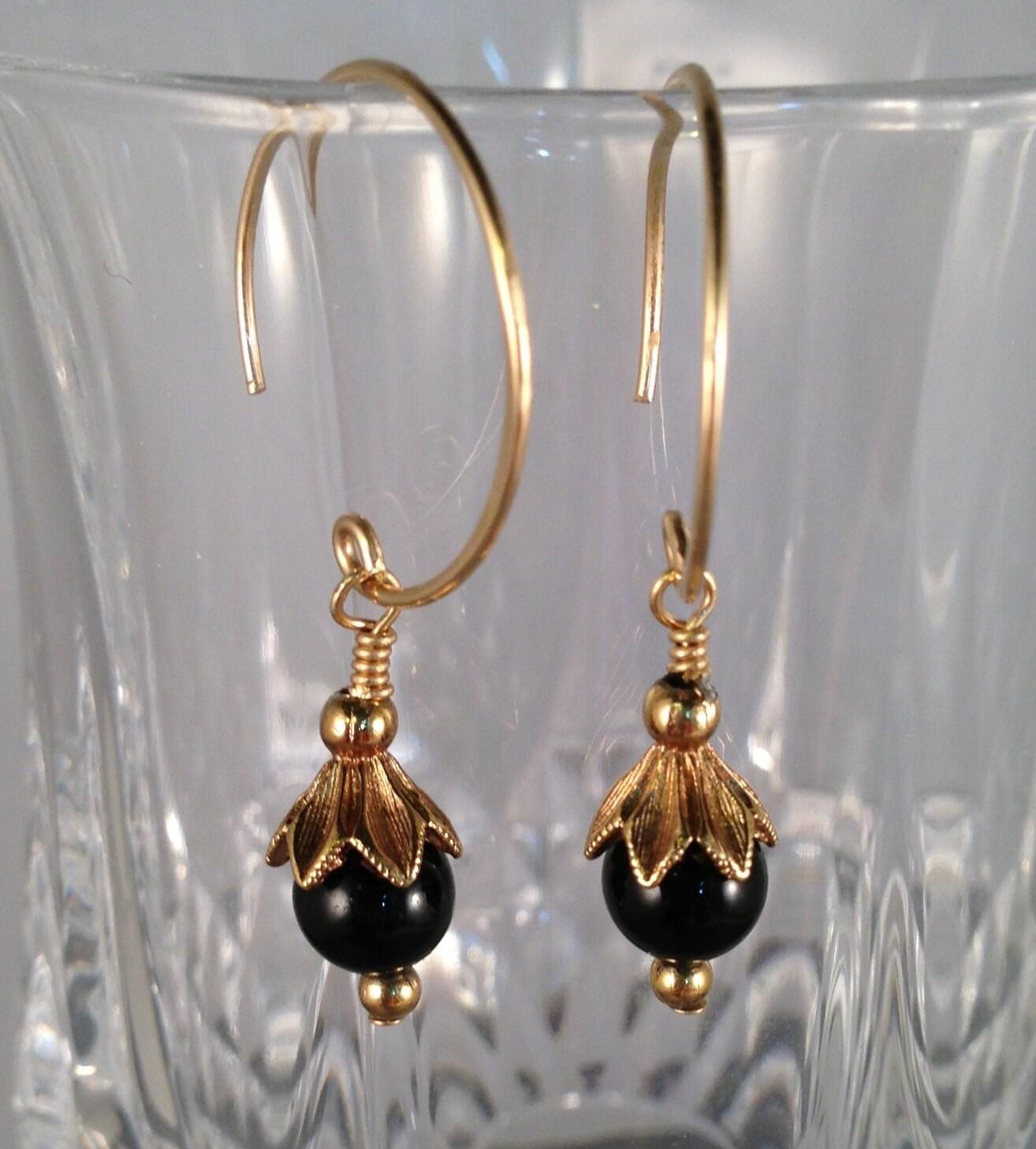 black onyx gemstones on 14k gold filled hoop earrings