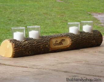 Mantel Decor Name Log Holder Rustic Custom Centerpiece