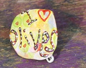 Olives Upcycled Recycled Bottle Cap Pin OOAK: I heart Olives - shipping included