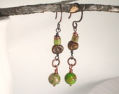 Earthy Eclectic Gemstone Earrings . Bohemian Beaded Artisan Jewelry . Green Brown . Earrings under 15 Gift Simple Mod  Boho Chic . TERRA