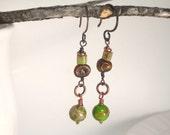 Earthy Eclectic Gemstone Earrings . Bohemian Beaded Artisan Jewelry . Green Brown . Earrings under 15 Gift Simple Mod  Boho Chic . TERRA