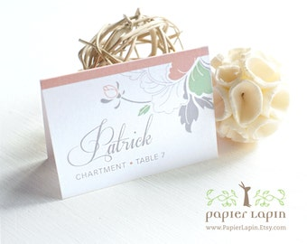 Floral placecard on metallic paper / Set of 40 / color coding for meal options, practical and elegant