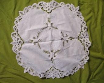 Shabby Chic white cotton round doily- lace, battenburg, embroidery